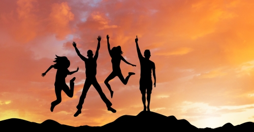 people in the sunset raise hands cheering team composite background, Silhouette, Cheering, Celebration Background image