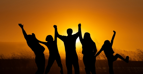 people in the sunset raise hands cheering team composite background, Silhouette, Evening, Beautiful Background image