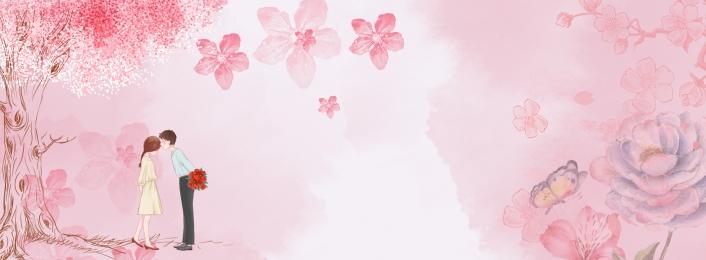 Pink Warm Banner, Romantic, Fresh, Couple, Background image