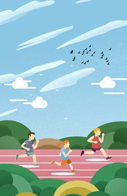 running exercise fitness health , Blue Sky, Running, Grass Фоновый рисунок