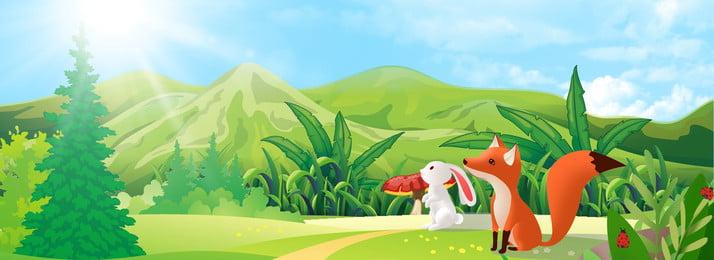 綠色 清新 陽光 山中的小動物, 樹木, 清新, 草地 背景圖片