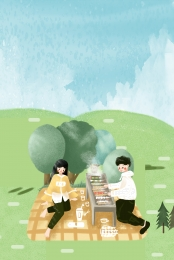 spring picnic couple meadow , Meadow, Travel, Character ภาพพื้นหลัง