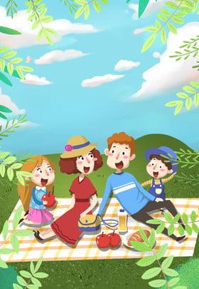 spring picnic fresh flowers , Cute, Cartoon, Picnic ภาพพื้นหลัง