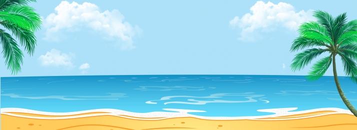 夏日 海邊 藍色 天空, 沙灘, 夏日海邊藍色天空棕櫚樹沙灘背景海面, 藍色 背景圖片