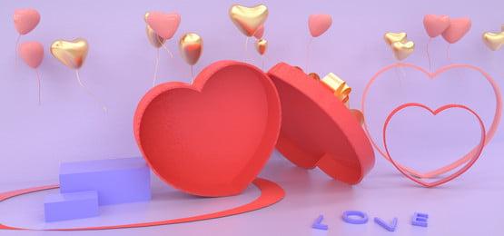 情人節海報 banner 簡約風格 紅色 金色 C4D 創意背景圖庫