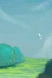 natural scenery grass cartoon butterflies spring scenery , Spring Scenery, Sky,  ภาพพื้นหลัง