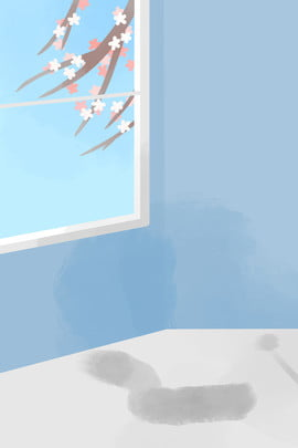 窓 漫画の木 赤い花 緑の植物 , 緑のエコロジー, 漫画の木, 窓 背景画像