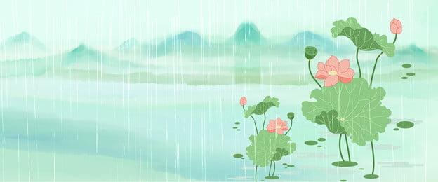 Nền phong cách Trung Quốc áp phích phong cách Trung Quốc nền hoa sen áp phích hoa sen Sen Sương Mù Hình Nền