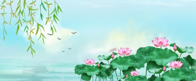 Nền phong cách Trung Quốc áp phích phong cách Trung Quốc hoa sen nền Không áp Phích Hình Nền