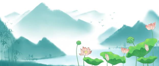 Nền phong cách Trung Quốc áp phích phong cách Trung Quốc hoa sen nền Sương Mù Không Hình Nền