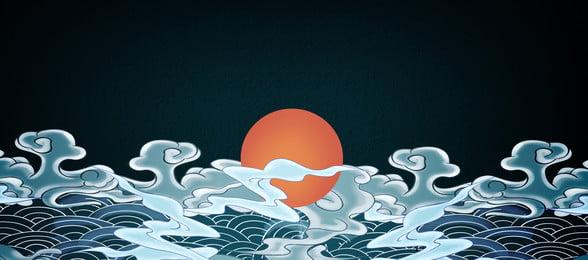 जापानी जापान ukiyo e सर्फ, Zephyr, Minimalist, Ukiyo-e पृष्ठभूमि छवि