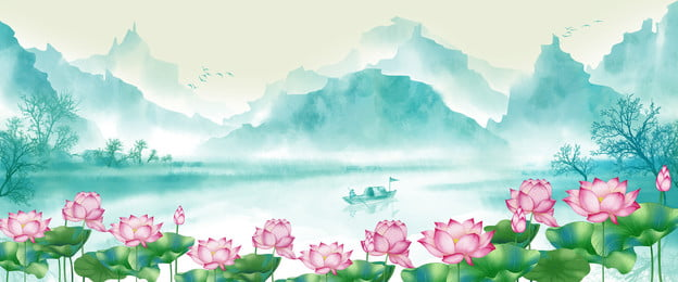 june flower lotus chinese style mountain background, Misty, Background, Lotus Imagem de fundo