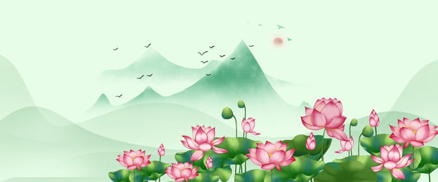 june flower lotus chinese style mountain background, June, Lotus, June Flower Фоновый рисунок