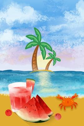 Cool summer summer summer summer Watermelon Beach Drink Imagem Do Plano De Fundo