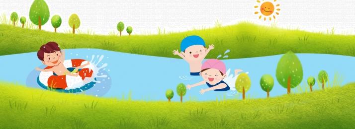 summer kids lake water happy play water banner background, Summer, Children, Green Grass Background image