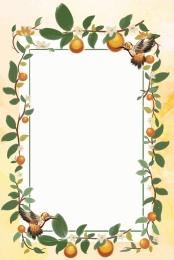 직사각형 테두리 인공 오렌지 나무 빈티지 테두리 봄과 여름 테두리 , 녹색 식물 테두리, 배경, 인공 오렌지 나무 배경 이미지