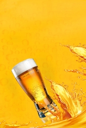 Summer refreshing glass of beer poster background , Atmosphere, Simple, Red Wine Background image