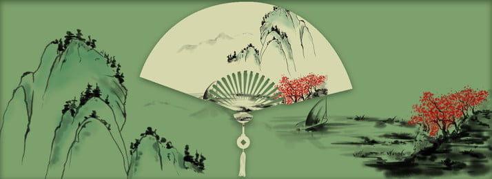 復古 中國風 古典折扇 水墨 復古中國風古典折扇水墨山水綠色背景 古典折扇 復古背景圖庫
