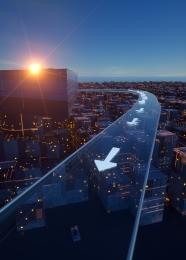 藍色 科幻 城市 建築 , 藍色, 跑道, 城市 背景圖片