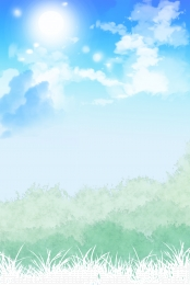 blue sky white clouds green green , Minimalistic, Fresh, Blue Sky Background ภาพพื้นหลัง