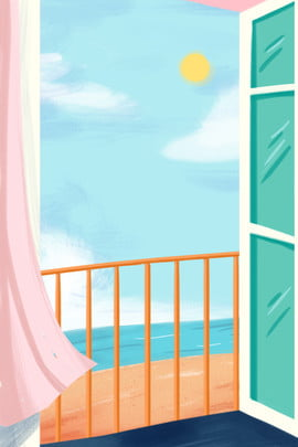 漫画のドア 透明なガラス 漫画のバルコニー 青い海 , 透明なガラス, 漫画のドア, 青い空と窓 背景画像
