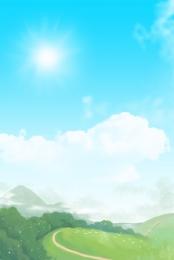 white clouds blue sky grass blue , Blue, Blue Sky, Meadow ภาพพื้นหลัง