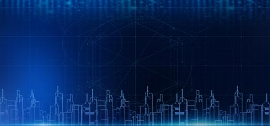 藍色 科技 城市 建築, 科技, 藍色科技城市建築商務分層背景, 背景 背景圖片