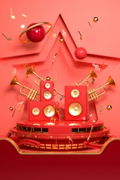 C4D e commerce carnival red background , C4D, E-commerce, Carnival Background image