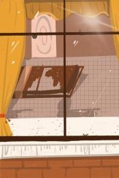 布のカーテン 透明なガラス グレーの床 グレーのカウンタートップ , グレーのカウンタートップ, 家具, 漫画の家具 背景画像