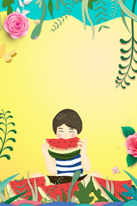 beautiful hand painted  child , Picture, , Watermelon ภาพพื้นหลัง