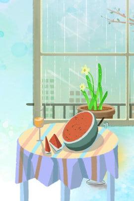 吃西瓜 喝冷飲 夏天 夏至 消暑 吃西瓜 入夏吃西瓜背景圖片背景圖庫