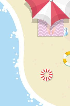 清新 沙灘 夏季 海邊 清新 游泳圈 沙灘背景圖庫