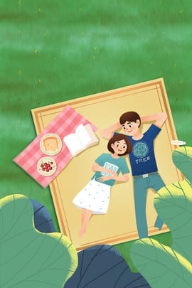 green meadow picnic couple , Literary, Poster, Grass ภาพพื้นหลัง