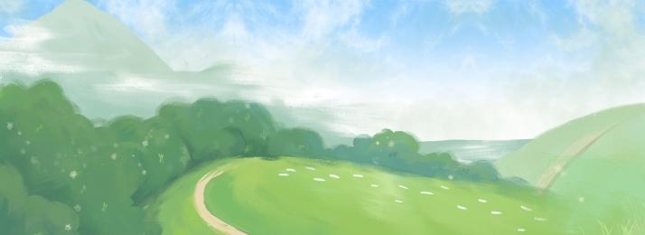 màu xanh lá cây sương khói rừng cảnh, Bãi Cỏ, Họa, Màu Xanh Lá Cây Ảnh nền