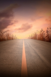 sunset jalan rumah sintetik , Latar, Sintetik, Waktu imej latar belakang