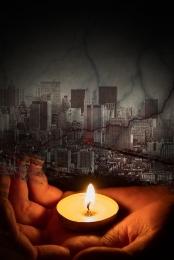 미니멀리즘 촛불 기도 자연 재해 , 재앙, 블랙 그라데이션, 포스터 배경 이미지