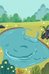 大自然 森林 水池 池塘 , 植物, 藍色水, 野外 背景圖片