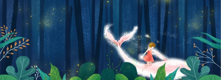 Night Forest Dream Banner, Forest, Dream, Plant, Background image
