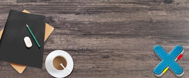 咖啡 教育 辦公 文具, 俯視, 辦公桌面的辦公文具, 辦公 背景圖片