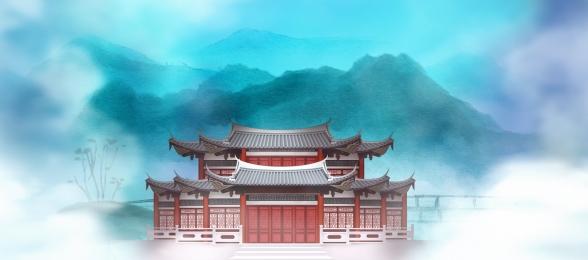 palace buildings classical blue, Banner, Blue, Sage Imagem de fundo