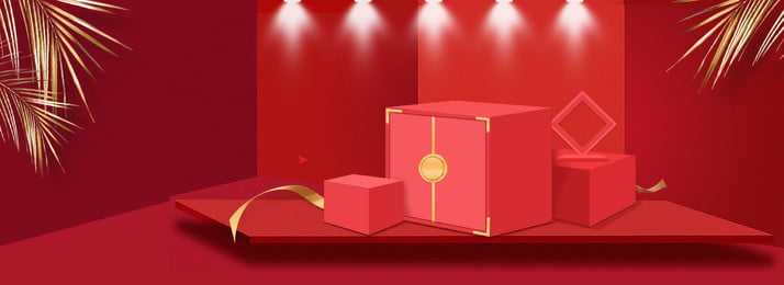 red big promotion three dimensional gift box, Leaves, Big Promotion, Spotlight Фоновый рисунок