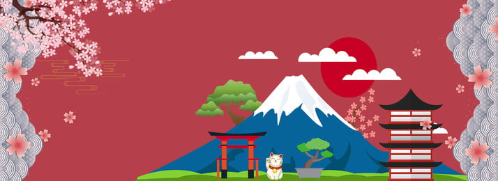 लाल जापान यात्रा फूल, लाल, सरल, भवनों पृष्ठभूमि छवि