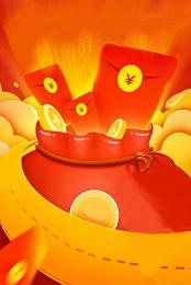 Phong bì đỏ WeChat túi tiền vàng mô hình hoạt hình minh họa hoạt hình Phong Bì đỏ Hình Nền