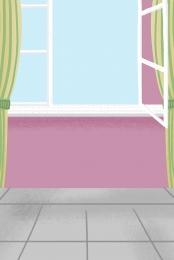緑のカーテン 美しいカーテン 漫画のパターン 漫画イラスト , 赤い壁, 漫画のパターン, 無料 背景画像