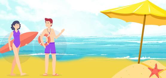 समुद्रतट तैराकी ध्यान सुरक्षा, कोच, पर, सुरक्षा पृष्ठभूमि छवि