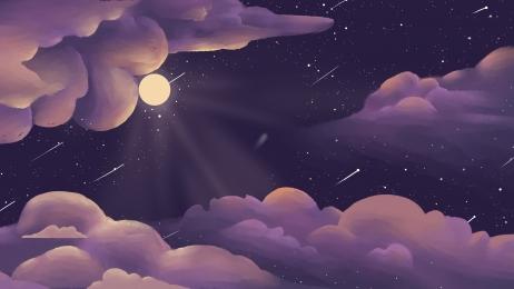 purple starry meteor shower moon moon, Background Panel, Moon Moon, Shower Imagem de fundo