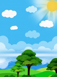big tree grassland clear sea water , Tree, Background Material, Blue Sky Фоновый рисунок