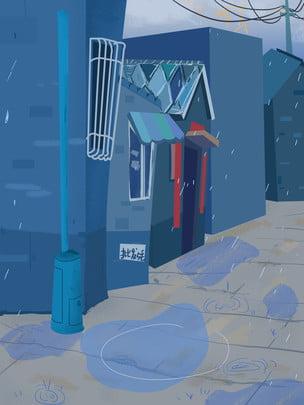 商店背景 櫥窗背景 扁平風背景 小清新背景 , 商店背景, 藍色手繪商場購物場景插畫背景, 櫥窗背景 背景圖片
