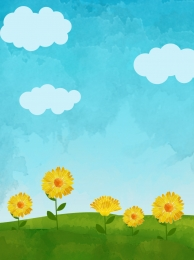 blue sky green grass chrysanthemum background blue sky background blue sky and white clouds background , Grass, Fashion Background, Blue Sky And White Clouds Background ภาพพื้นหลัง