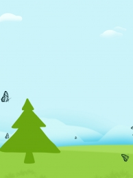 blue sky and white clouds big trees green grass butterflies , Printed Background, Big Trees, Clouds ภาพพื้นหลัง